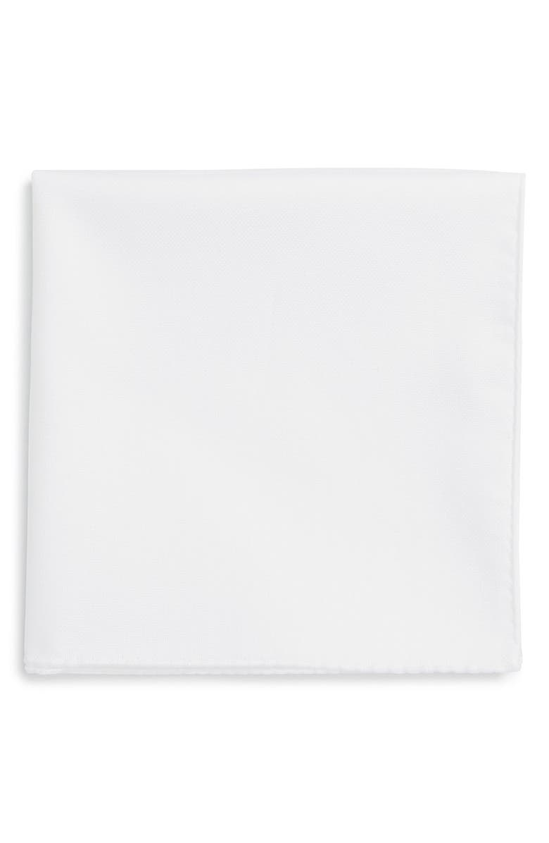 TED BAKER LONDON Solid Cotton Pocket Square, Main, color, WHITE