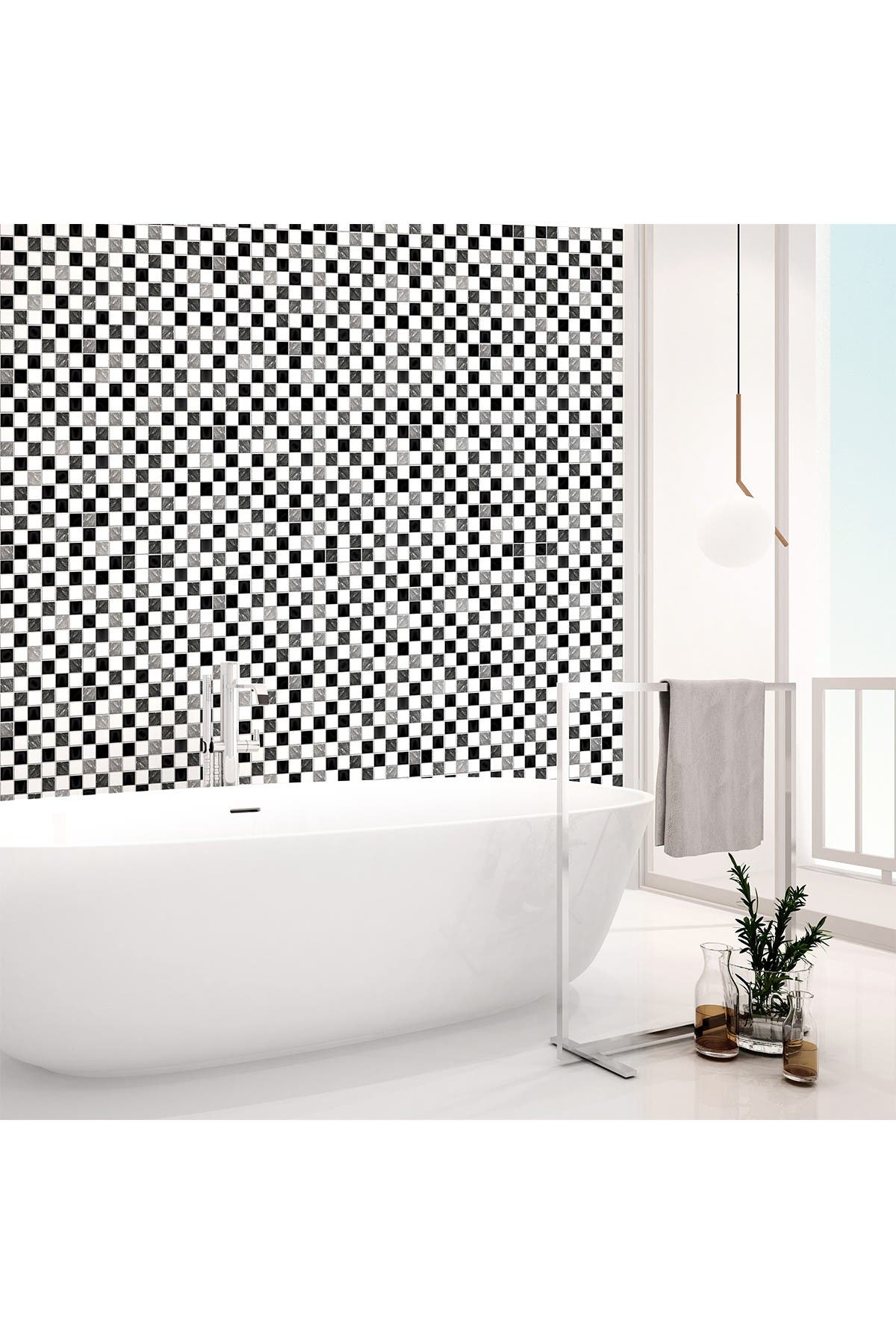 Image of WalPlus Black & White Marble Mosaic Tiles Decal