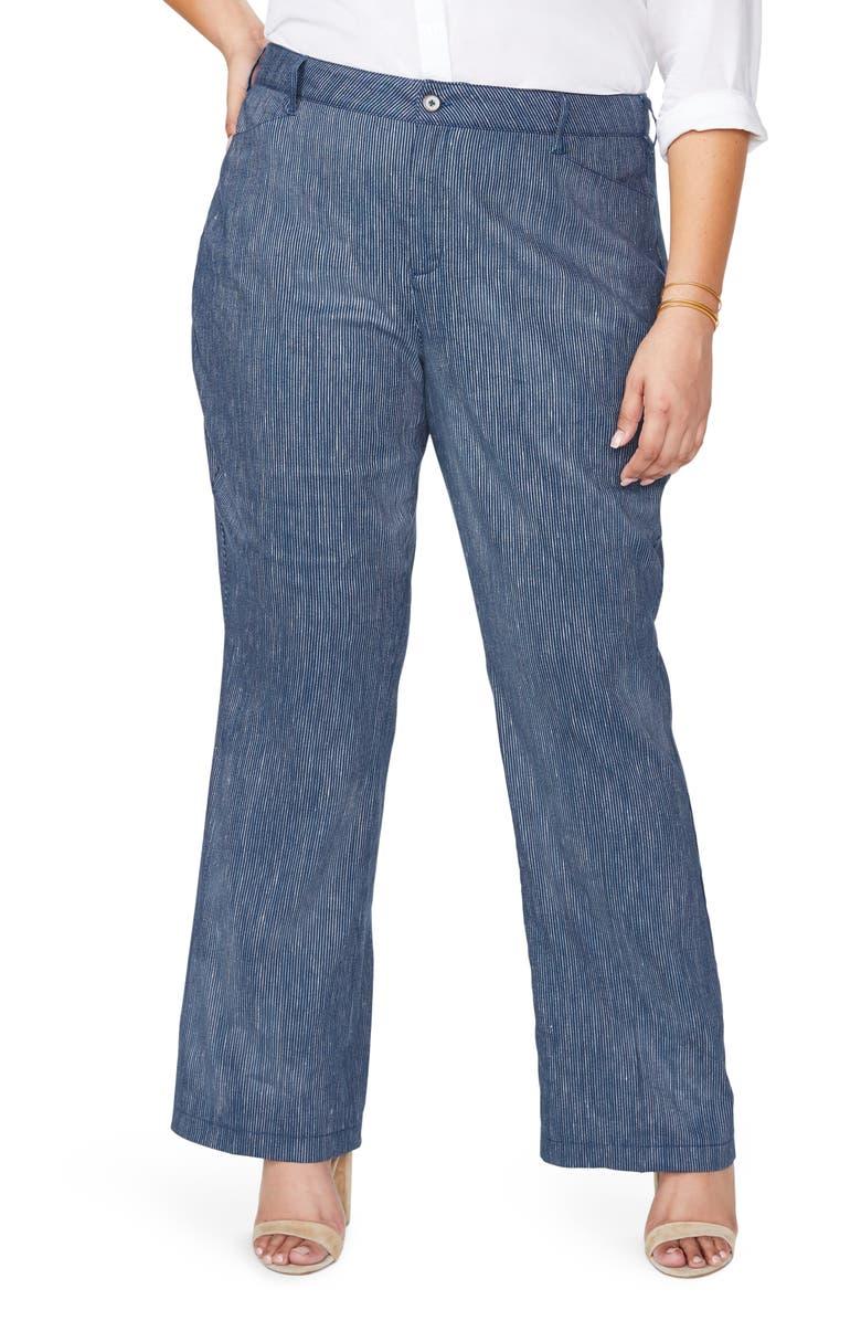 NYDJ The Trouser Linen Blend Pants, Main, color, AGUA STRIPE