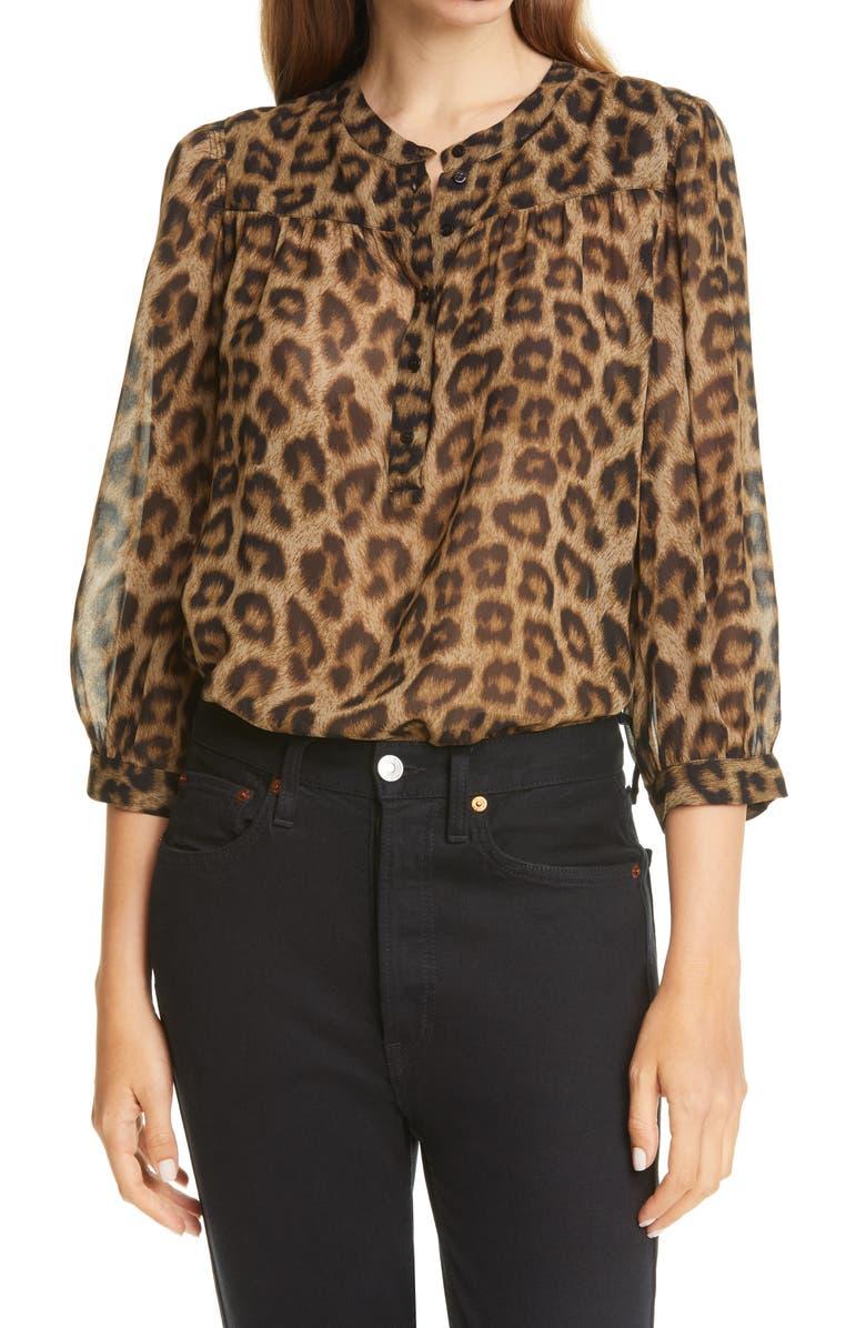 BA&SH Leopard Print Chiffon Top, Main, color, LEOPARD