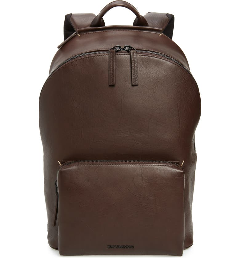 TROUBADOUR Leather Backpack, Main, color, BROWN LEATHER