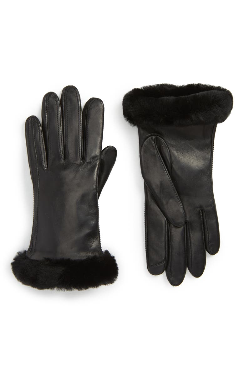 UGG<SUP>®</SUP> COLLECTION UGG<sup>®</sup> Classic Leather Tech Gloves with Genuine Shearling Trim, Main, color, 001