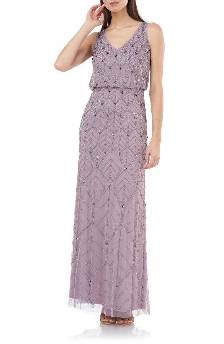 JS COLLECTIONS Beaded Leaf Blouson Gown, Main, color, DUSTY ROSE