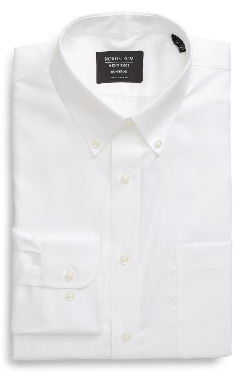 NORDSTROM MEN'S SHOP Traditional Fit Non-Iron Dress Shirt, Main, color, WHITE BRILLIANT