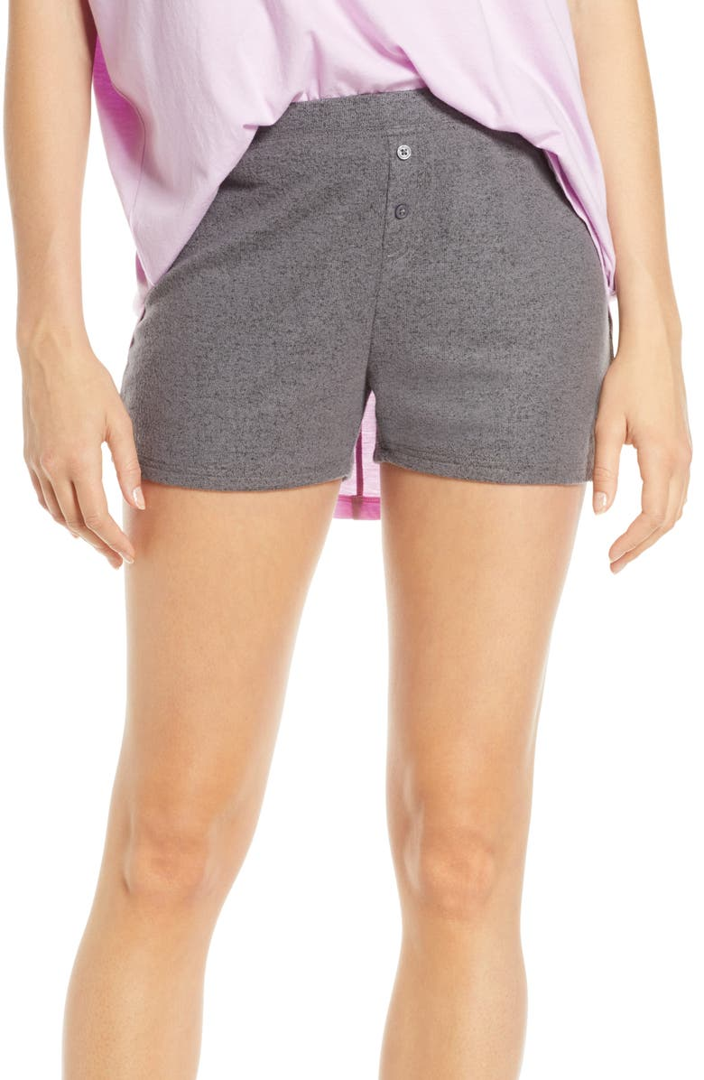 BP. Fitted Cozy Lounge Shorts, Main, color, DARK STEEL HEATHER