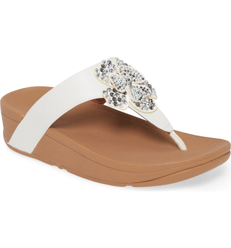 FITFLOP Lottie Crystal Flower Wedge Flip Flop, Main, color, URBAN WHITE FAUX LEATHER