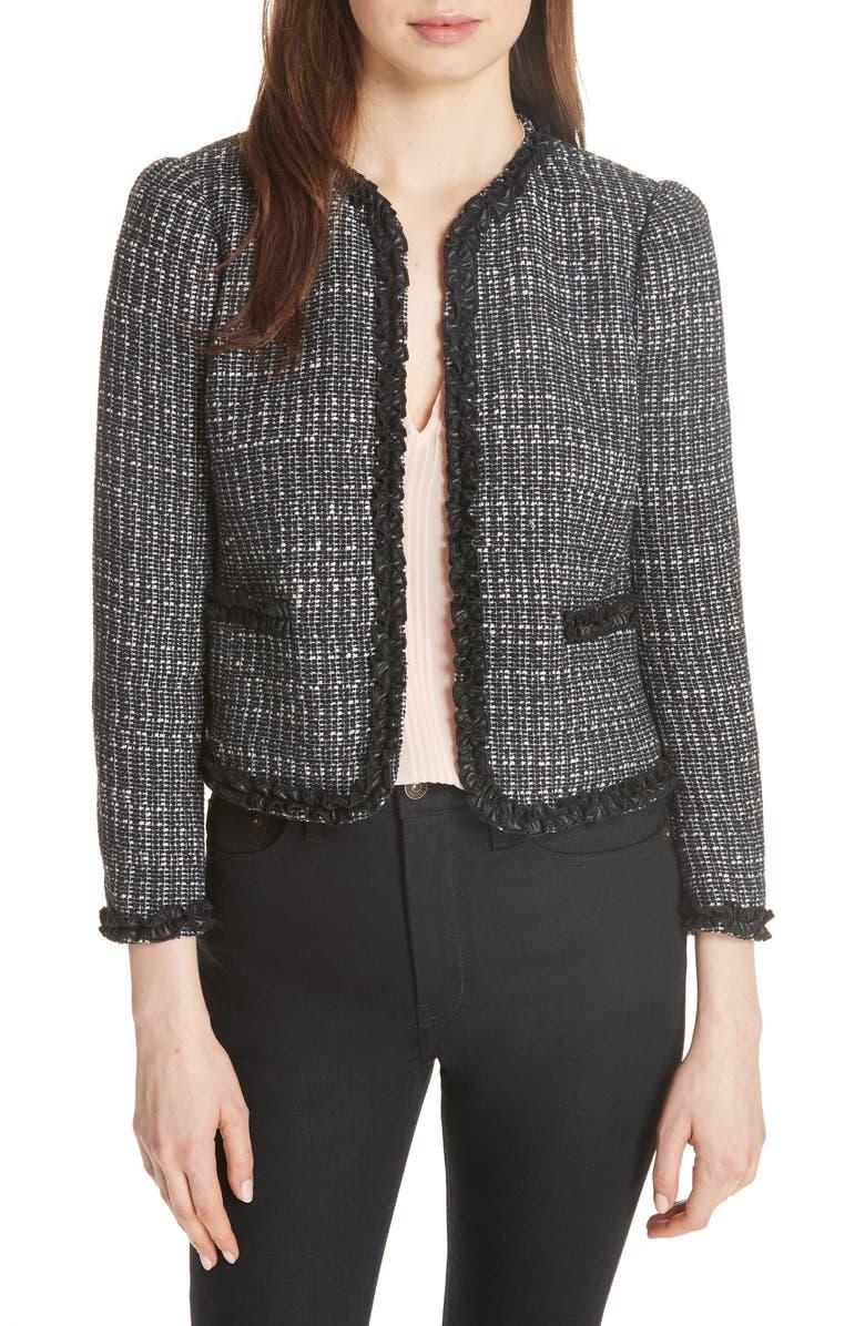 REBECCA TAYLOR Ruffle Trim Tweed Jacket, Main, color, 014