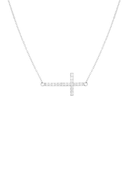Image of Sphera Milano 14K White Gold Plated Sterling Silver Pave CZ Cross Pendant Necklace