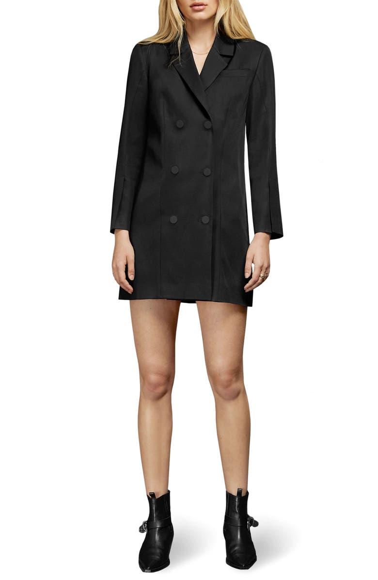 ANINE BING Francoise Long Sleeve Blazer Minidress, Main, color, BLACK