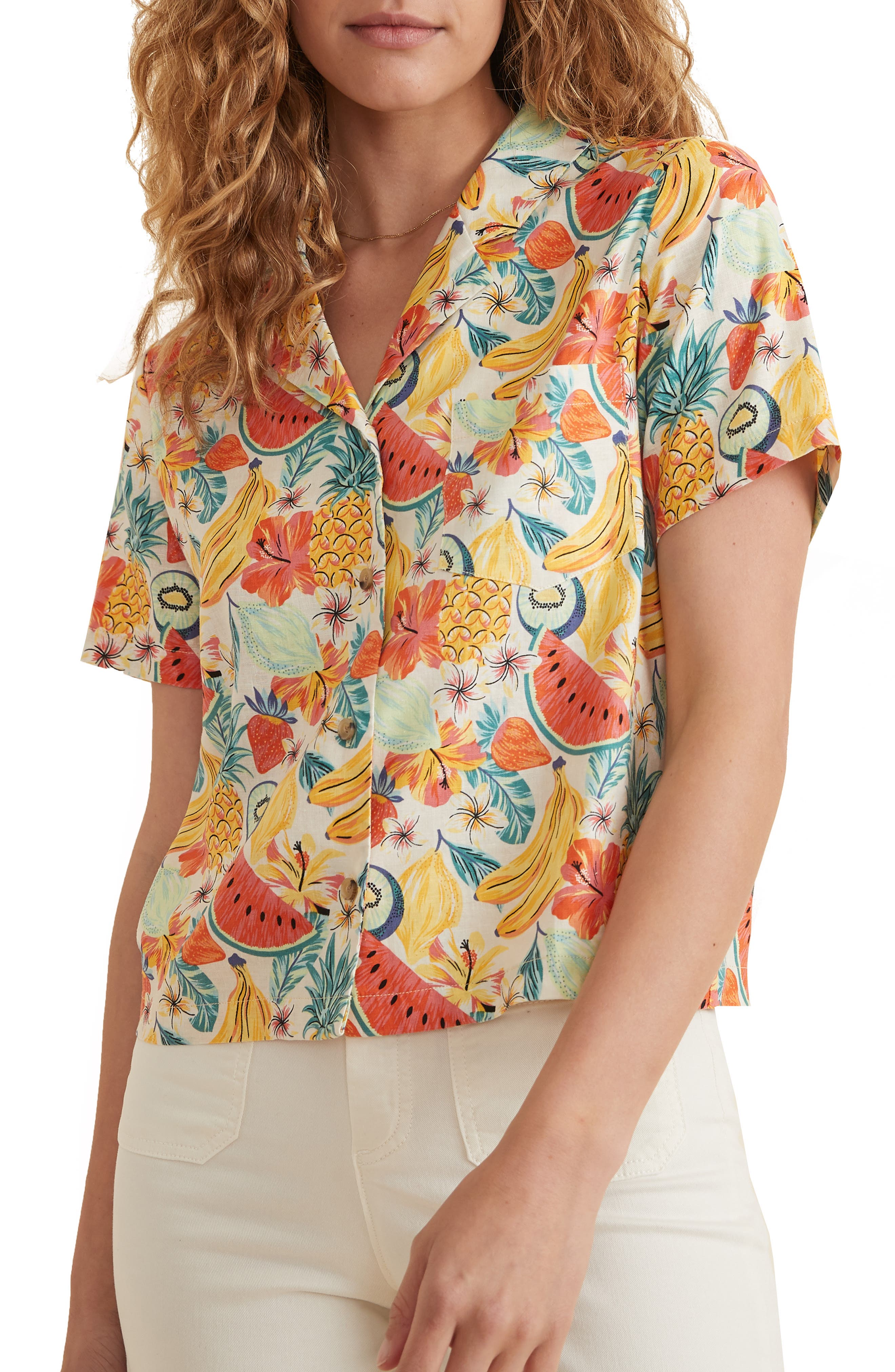 Lucy Tropical Print Camp Shirt