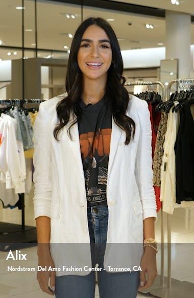 Stripe Off the Shoulder Linen Blend Dress, sales video thumbnail