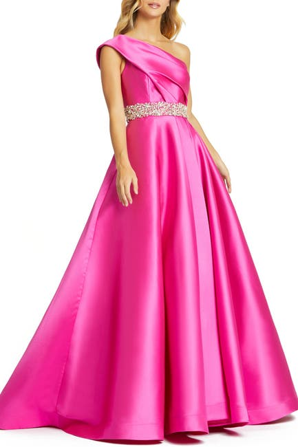 Image of Mac Duggal One Shoulder Foldover Satin Pleated Ball Dress