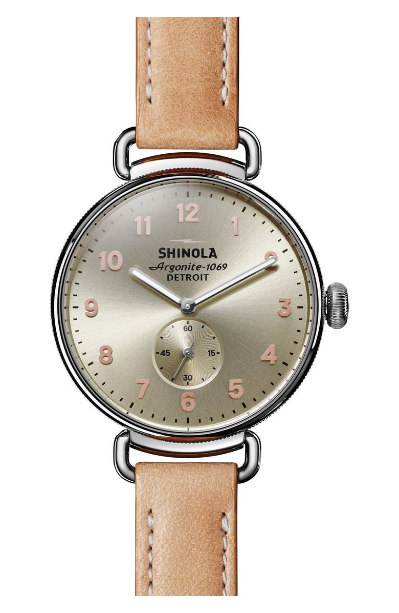SHINOLA The Canfield Alligator Strap Watch, 38mm, Main, color, NATURAL/ METALLIC/ SILVER