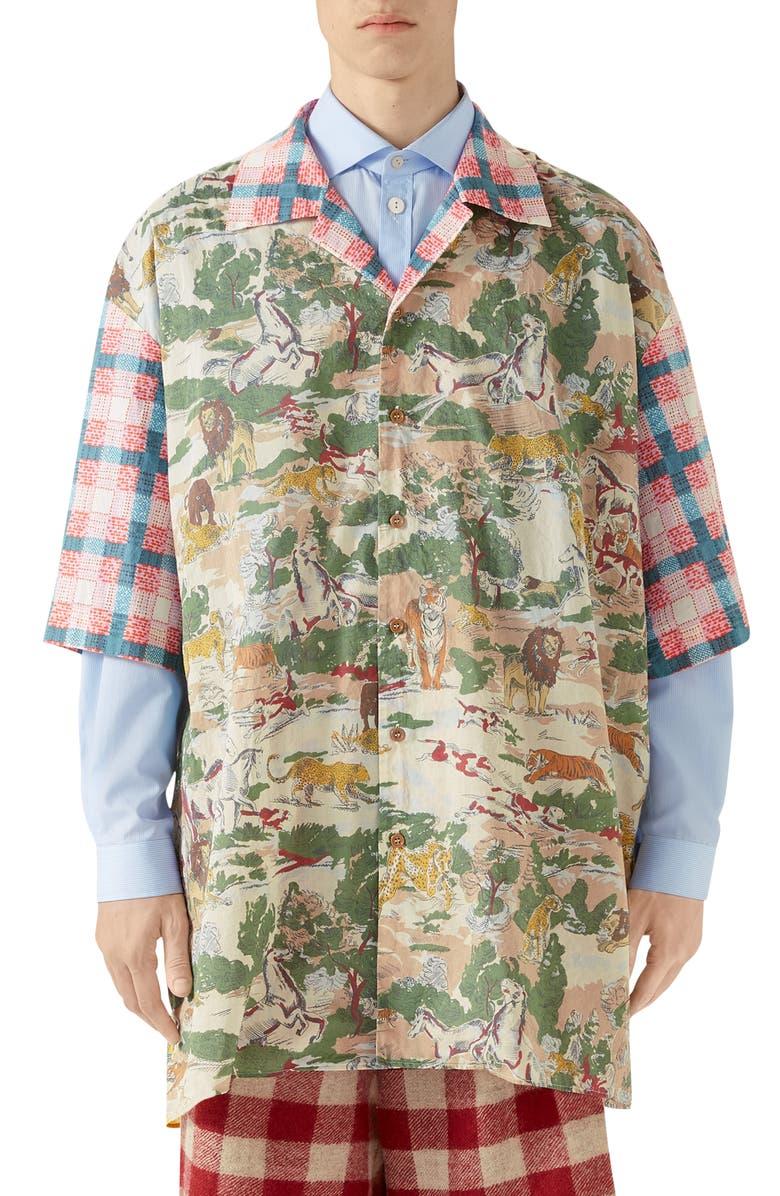 GUCCI Oversize Feline Print Cotton Bowling Shirt, Main, color, BROWN/PINE PT/MIX