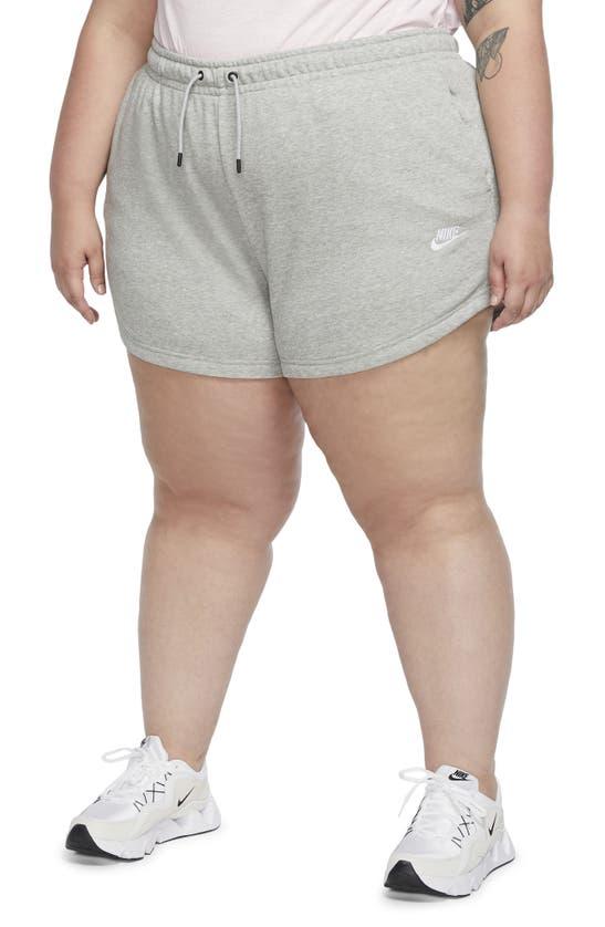 Nike Sportswear Essential Women's French Terry Shorts In Dark Grey Heather/ White