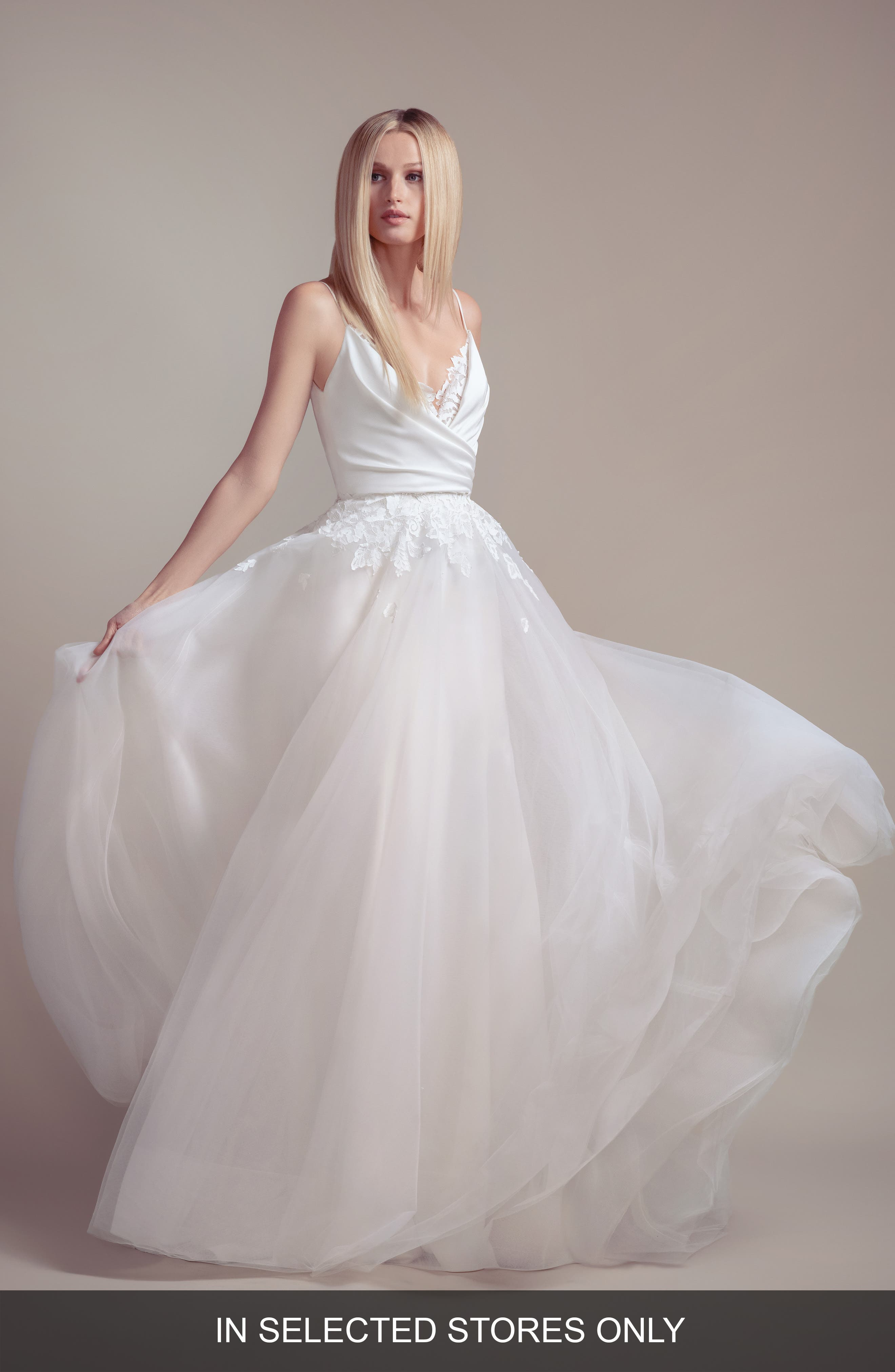 Blush By Hayley Paige Fawn V-Neck Wedding Slipdress With Overskirt, Size - Ivory