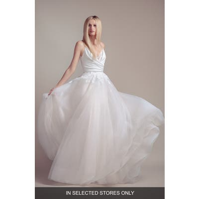 Blush By Hayley Paige Fawn V-Neck Wedding Slipdress With Overskirt