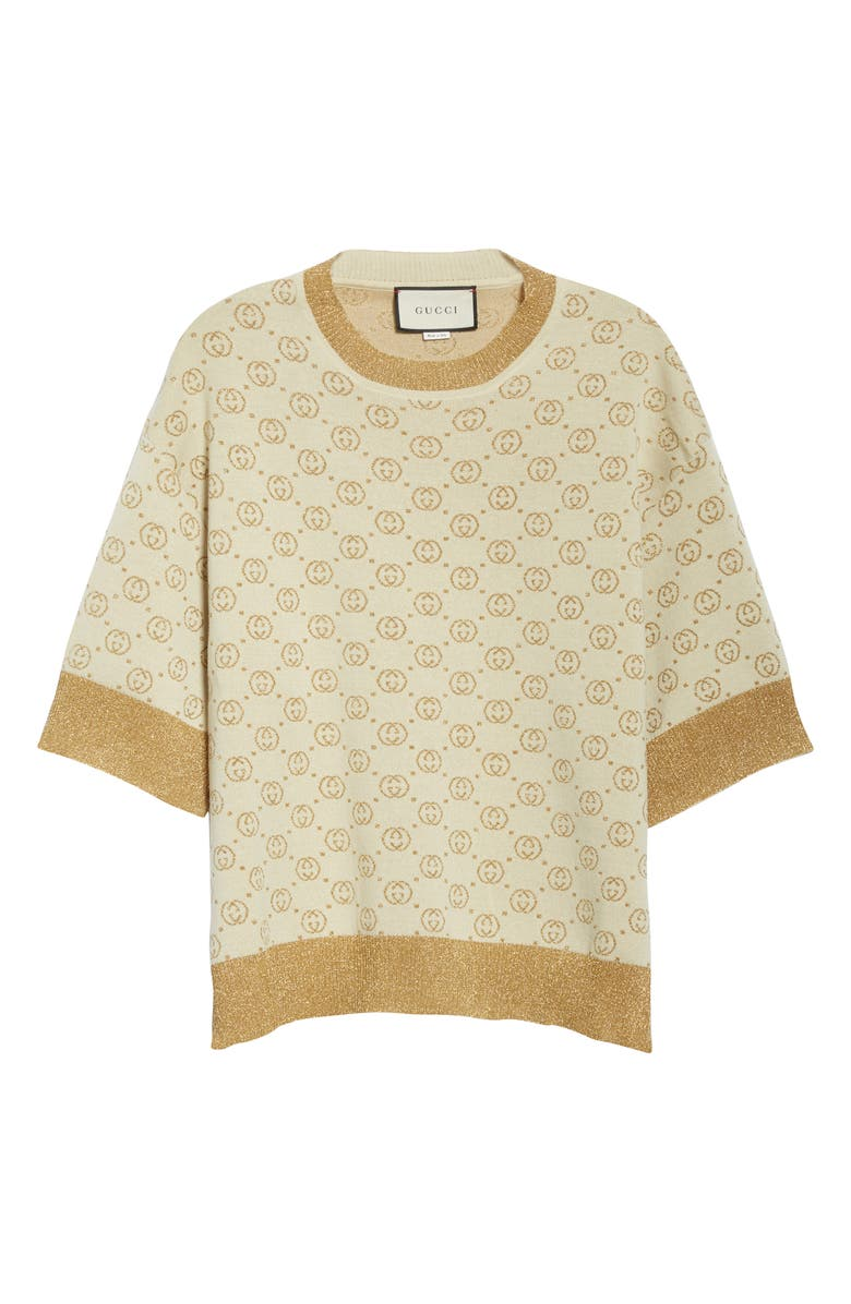 GUCCI Lamé Logo Jacquard Wool Sweater, Main, color, CREAM/ GOLD