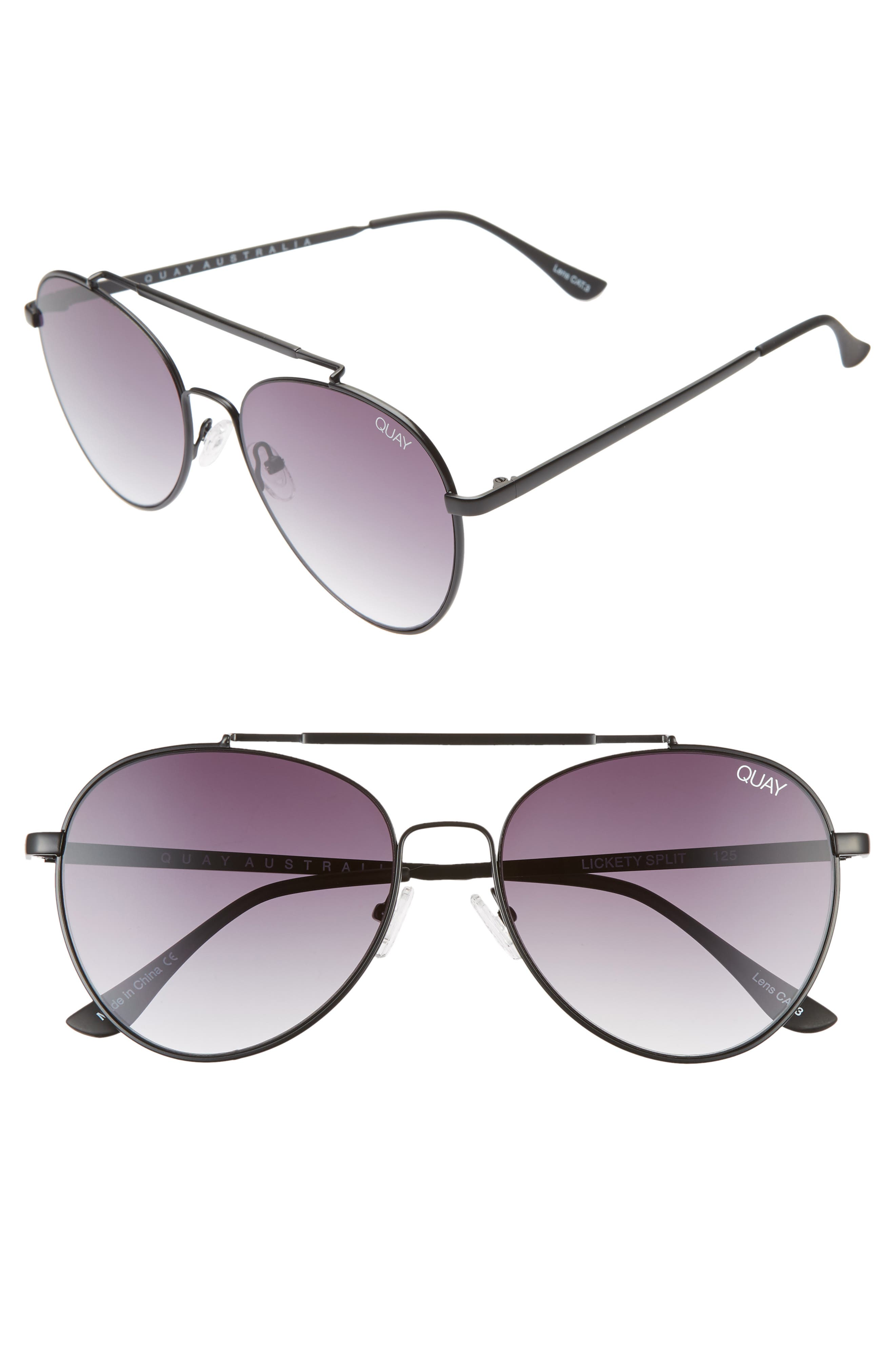 Quay Australia Lickety Split 55Mm Aviator Sunglasses - Black/ Smoke Fade