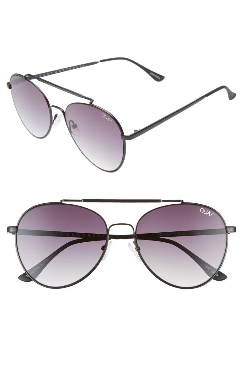 QUAY AUSTRALIA Lickety Split 55mm Aviator Sunglasses, Main, color, BLACK/ SMOKE FADE