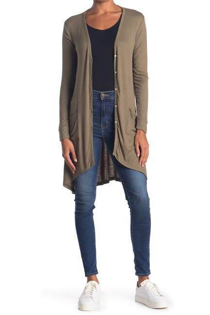 Image of Bobeau Button Front Rib Knit Cardigan