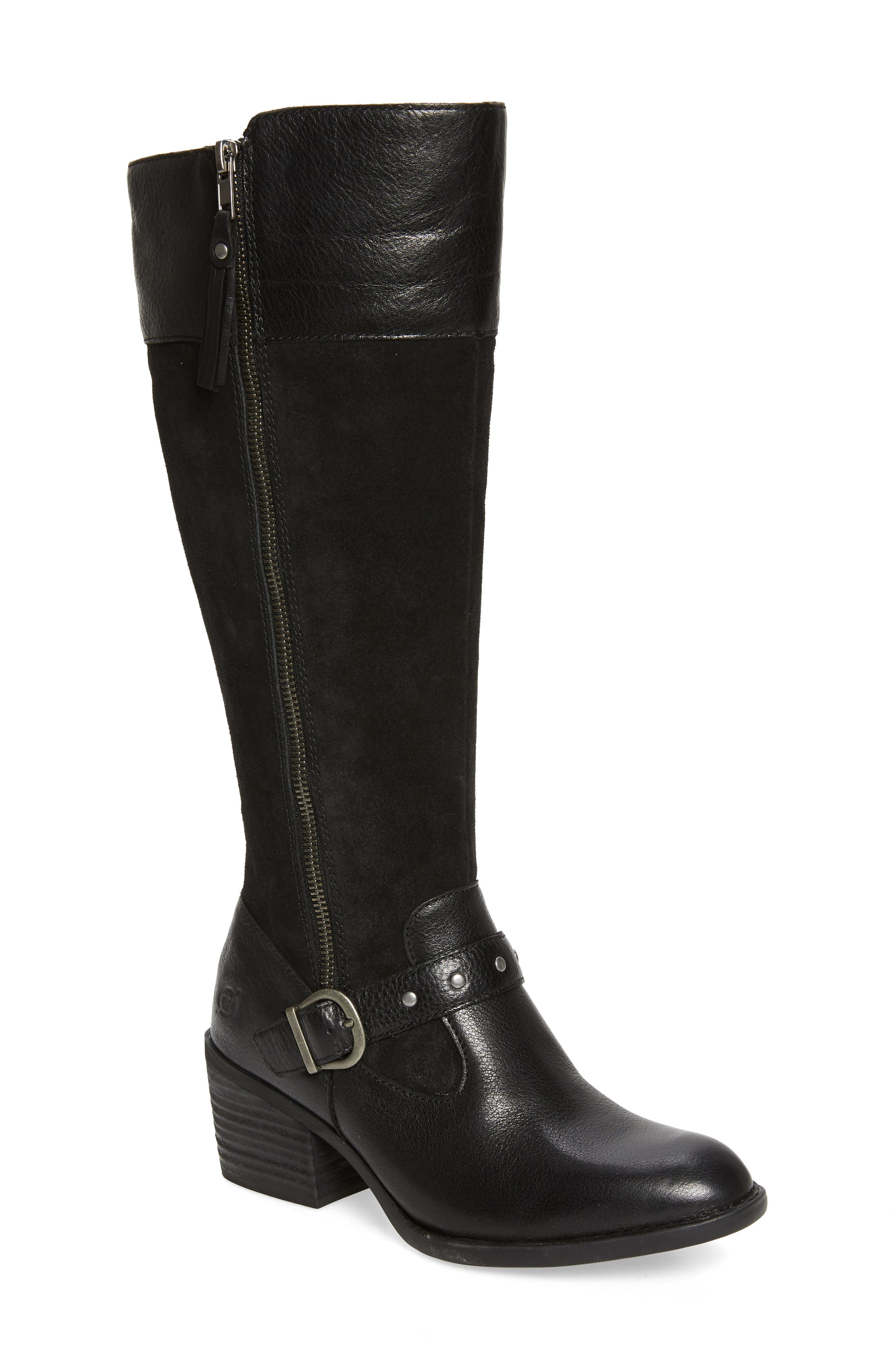 For rustic style and easy comfort, this knee-high boot features vintage-effect distressing, a chunky stacked heel and an outer zipper with tassel. Style Name:B?rn Alize Double Zip Boot (Women). Style Number: 6044671. Available in stores.