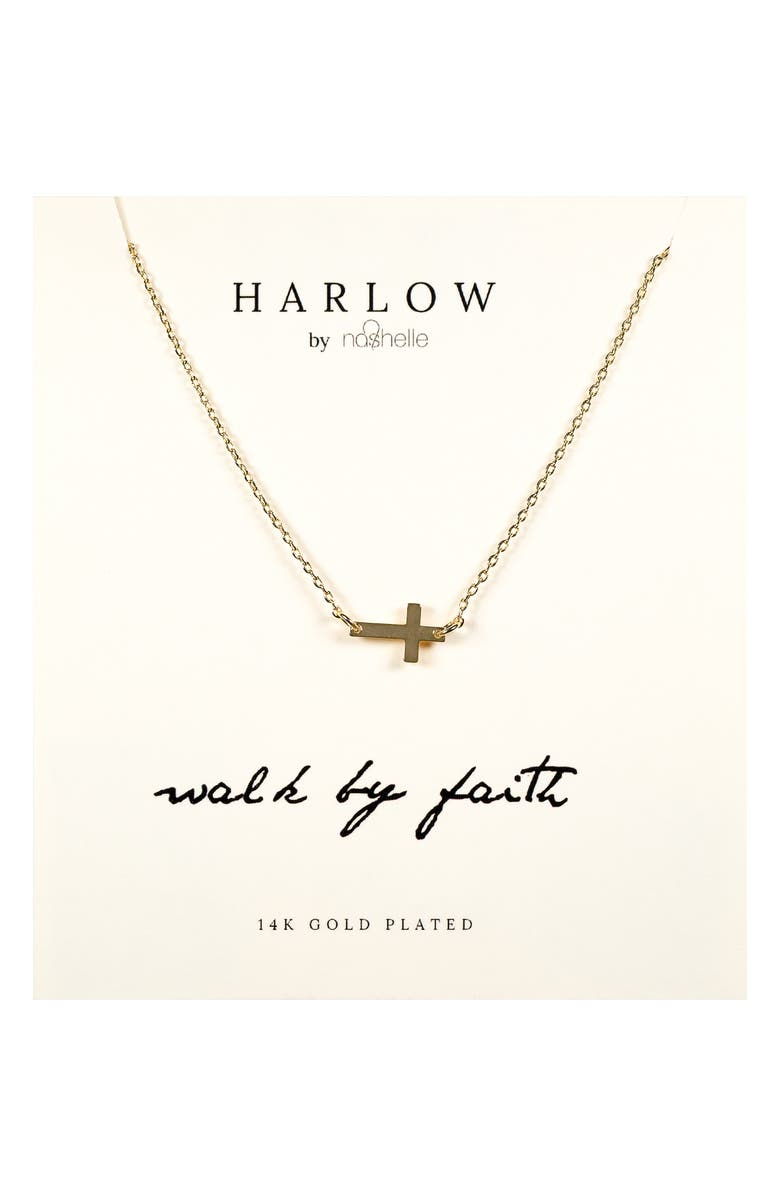 NASHELLE HARLOW by Nashelle Sideways Cross Boxed Necklace, Main, color, GOLD