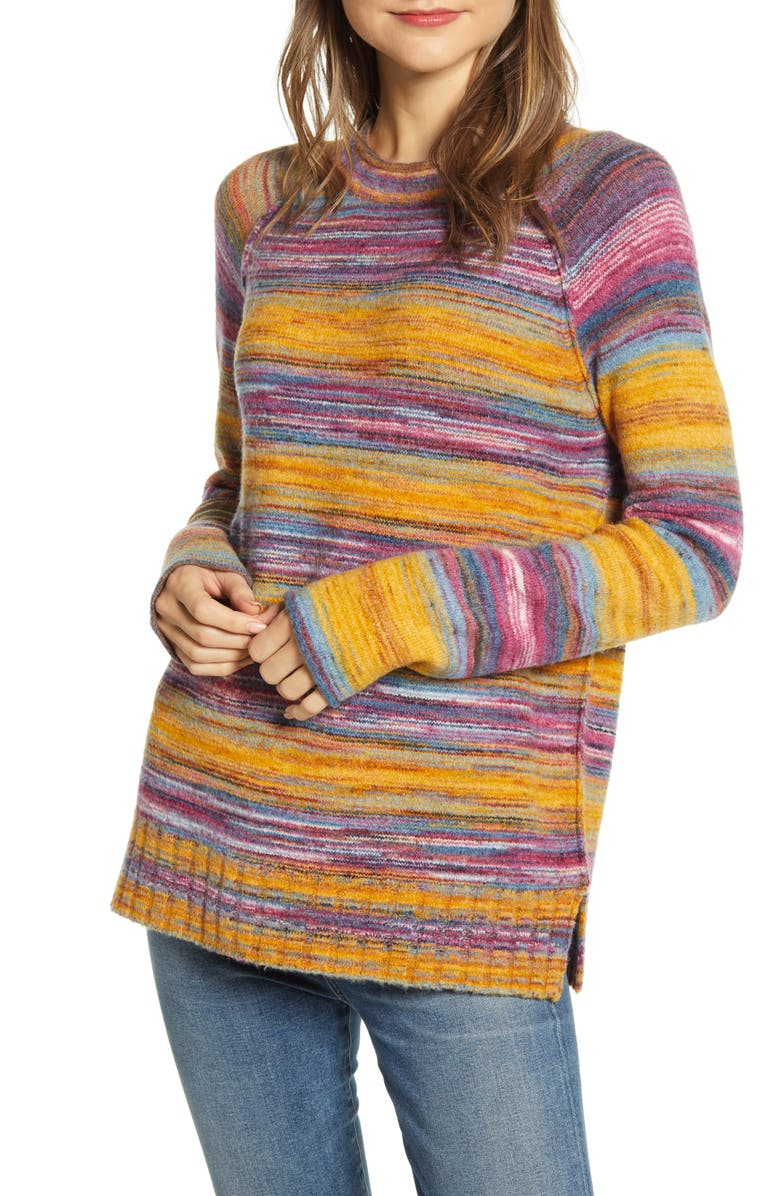 CASLON<SUP>®</SUP> Space Dye Roll Neck Sweater, Main, color, GOLD MULTI SPACEDYE
