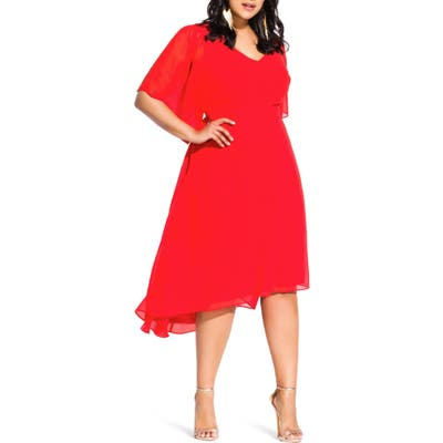 Plus Size City Chic Adore High/low Dress, Orange