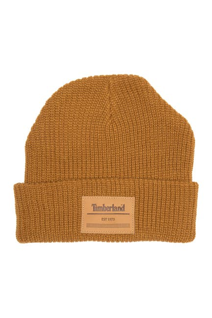 Image of Timberland Leather Logo Cuffed Beanie