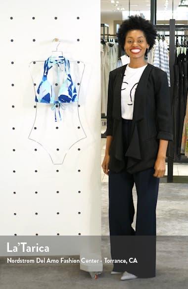 Palm Reader Halter Triangle Bikini Top, sales video thumbnail