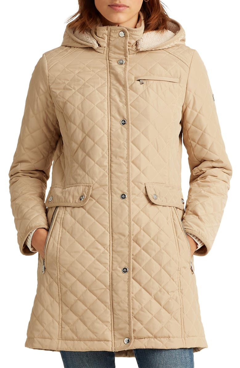 LAUREN RALPH LAUREN Quilted Coat with Faux Shearling Lining, Main, color, KHAKI