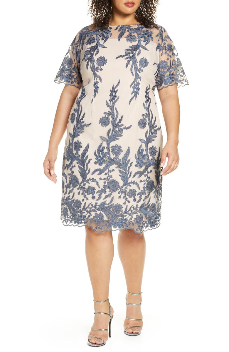 TAHARI Embroidered Shift Dress, Main, color, NUDE BLUE FLORAL