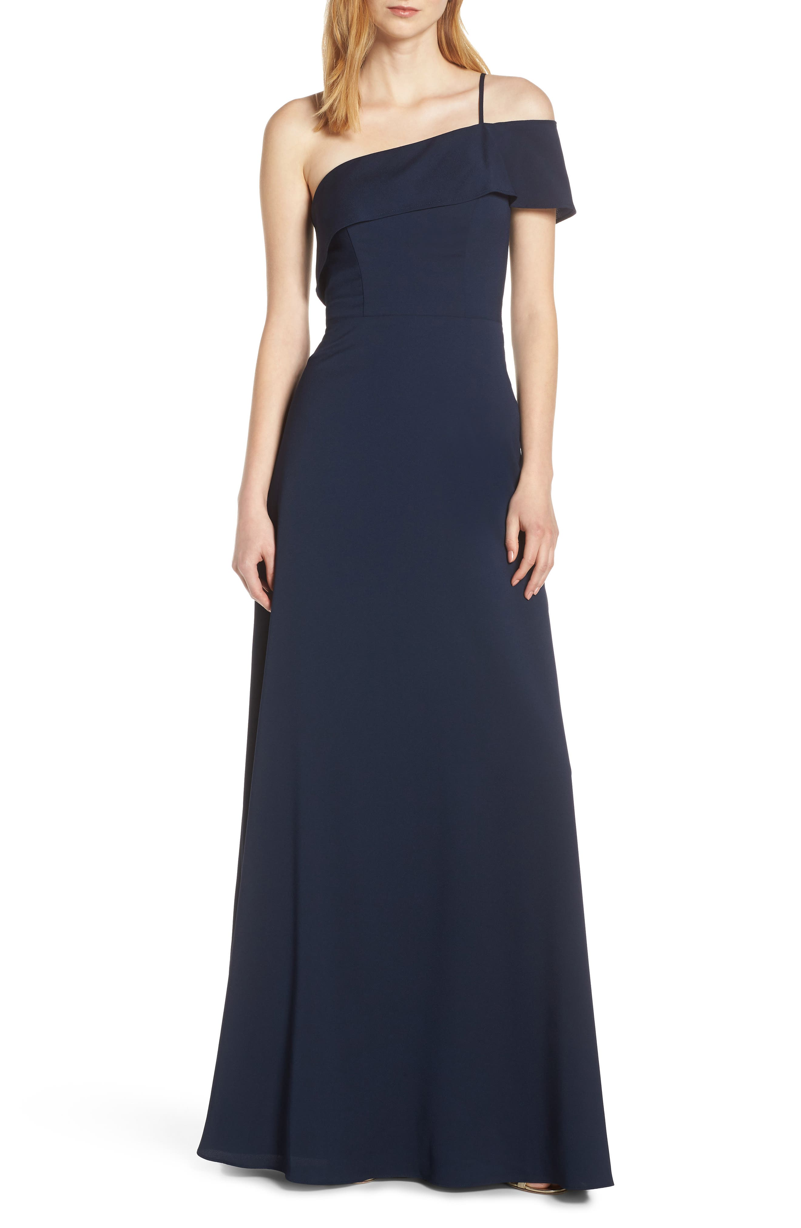 Hayley Paige Occasions One Cold Shoulder Crepe Evening Dress, Blue