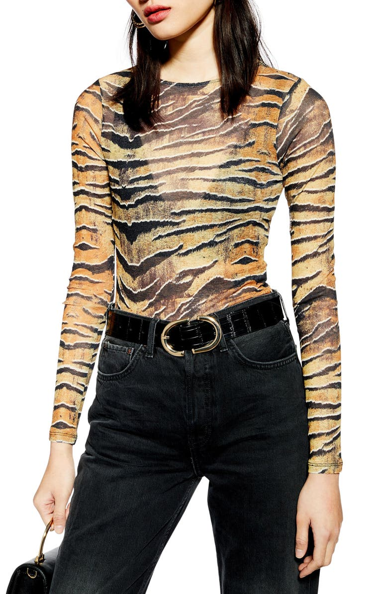 TOPSHOP Tiger Print Bodysuit, Main, color, 240
