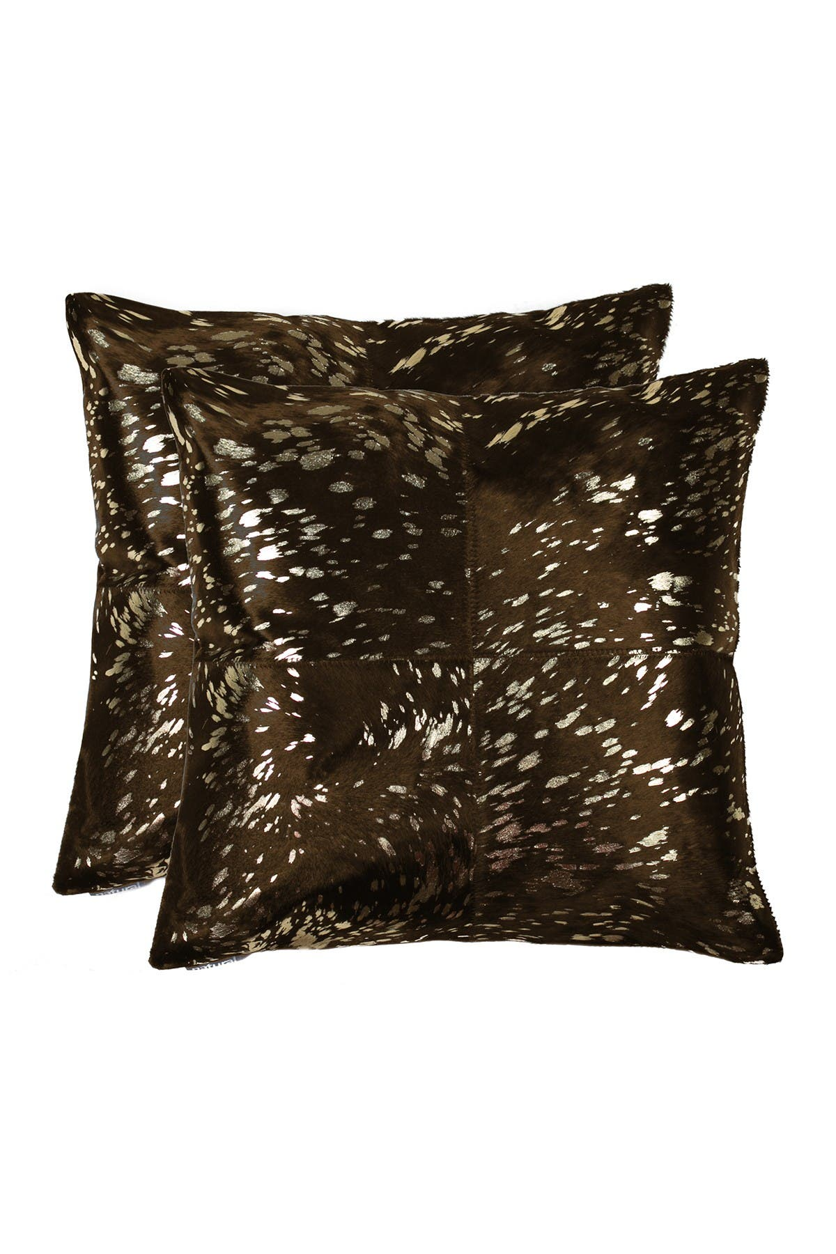 "Image of Natural Torino Quattro Genuine Cowhide 18"" x 18"" Pillow - Set of 2 - Gold/Chocolate"