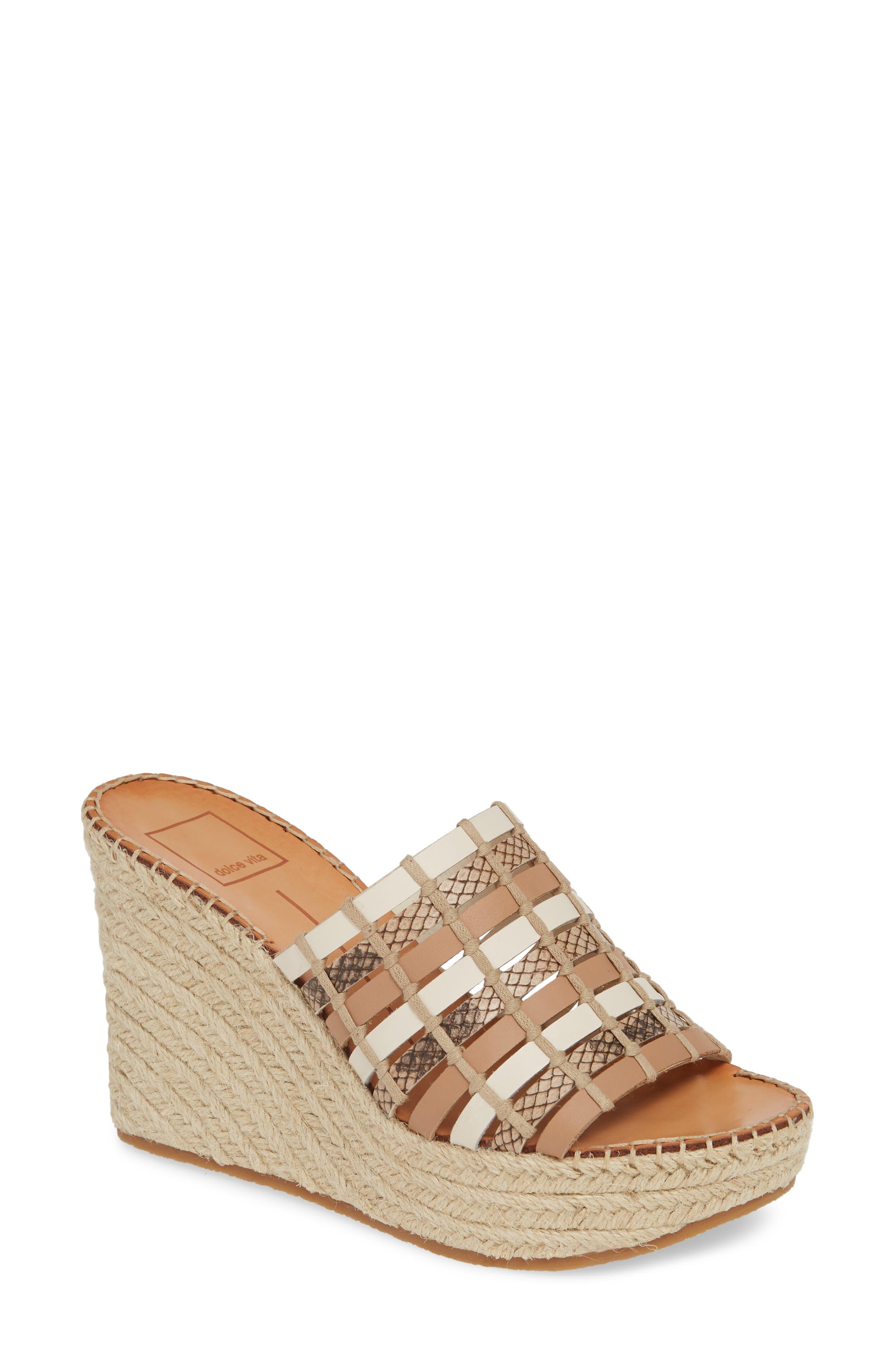 Prue Espadrille Wedge Slide Sandal, Main, color, NATURAL MULTI LEATHER