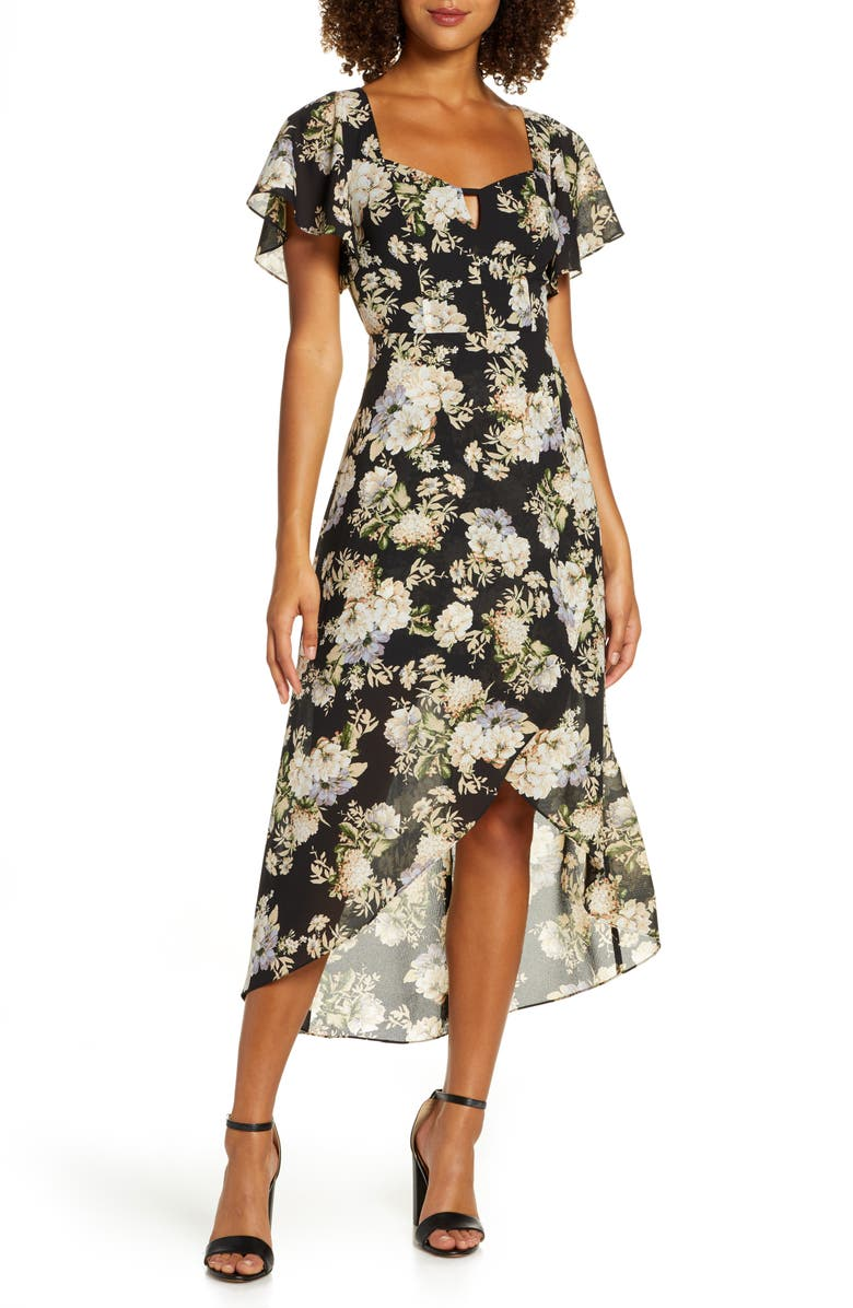 ALI & JAY New Bohemian Chiffon High/Low Dress, Main, color, BLACK FLORAL
