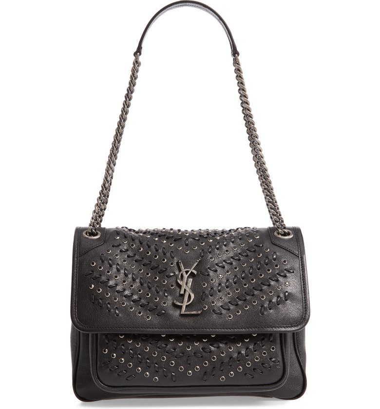 SAINT LAURENT Medium Niki Western Crystal Leather Shoulder Bag, Main, color, NOIR