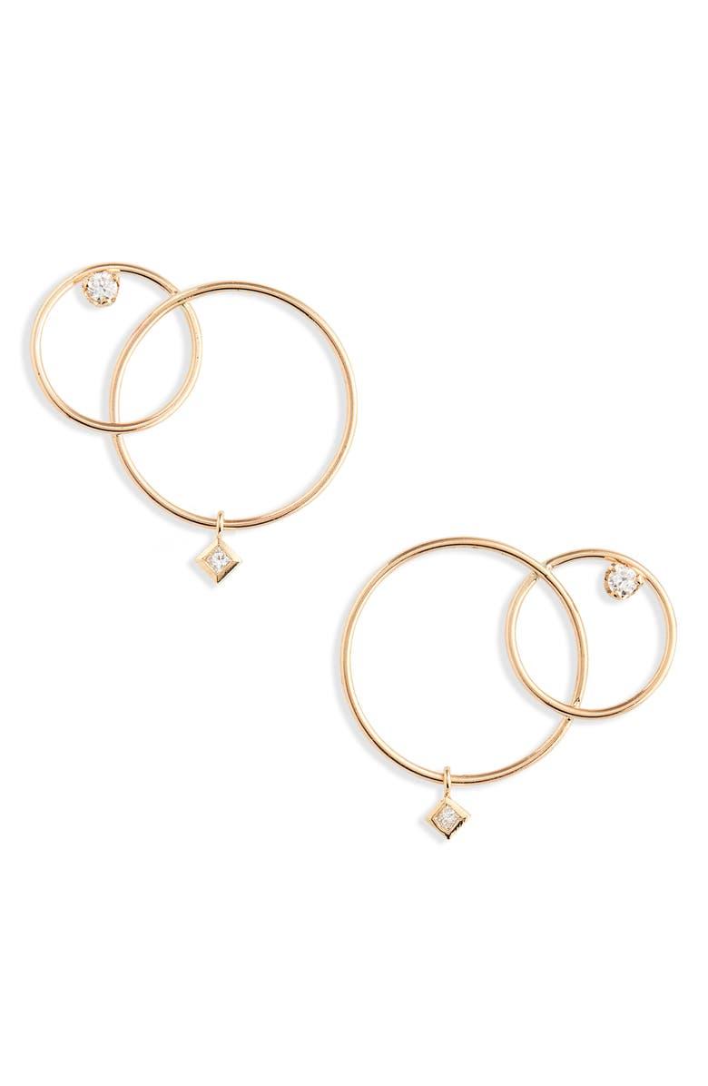 ZOË CHICCO Diamond Interlocked Circle Drop Earrings, Main, color, GOLD