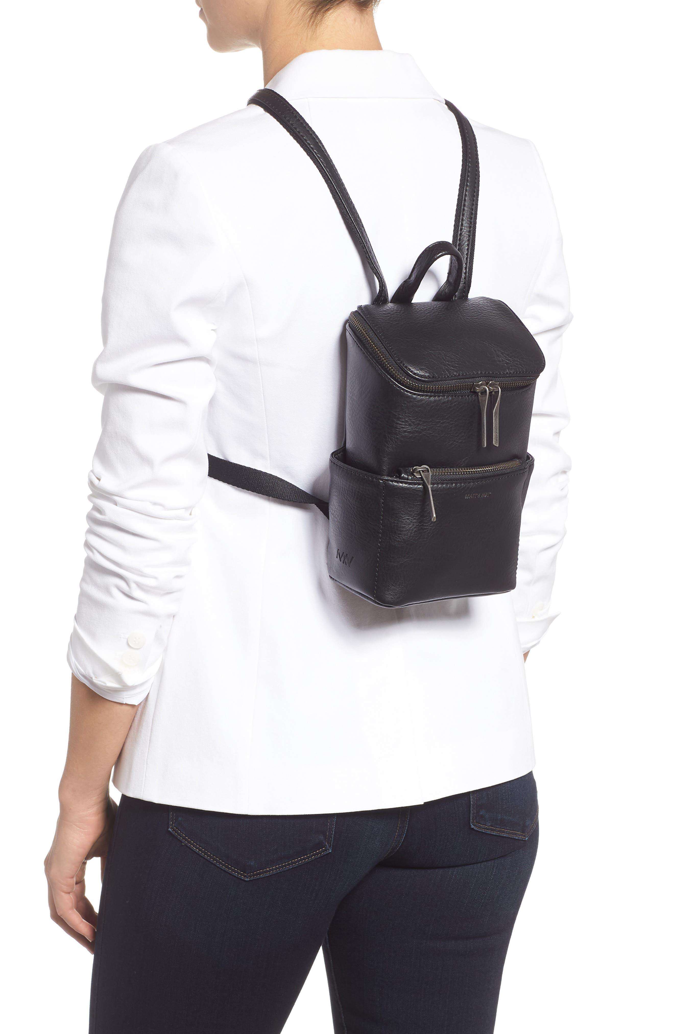 ,                             Mini Brave Faux Leather Backpack,                             Alternate thumbnail 2, color,                             BLACK