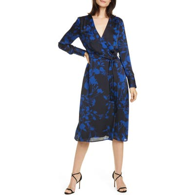 Equipment Cherylene Floral Long Sleeve Wrap Dress, Blue