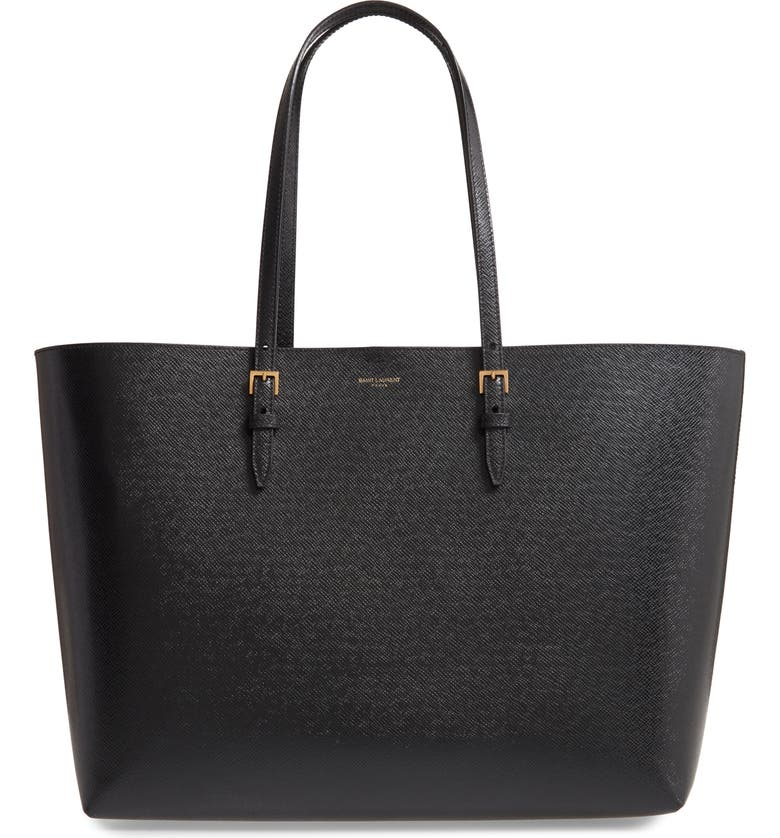 SAINT LAURENT Medium East/West Leather Shopping Tote, Main, color, NOIR
