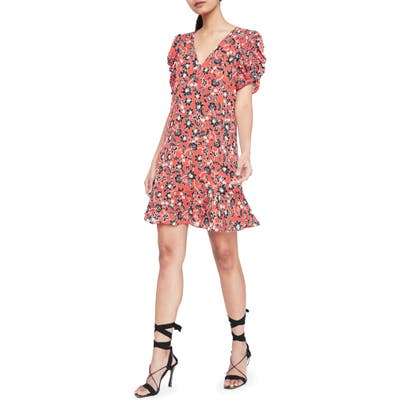 Parker Corrine Floral Silk Minidress, Red