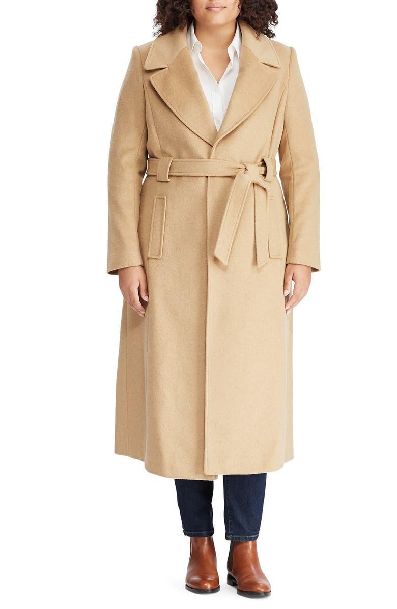 LAUREN RALPH LAUREN Wool Blend Belted Wrap Coat, Main, color, CAMEL