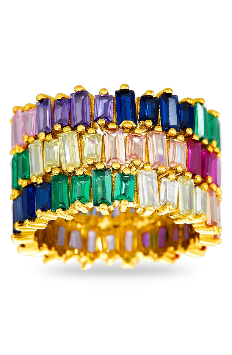 LESA MICHELE Set of 3 Stackable Cubic Zirconia Rings, Main, color, GOLD