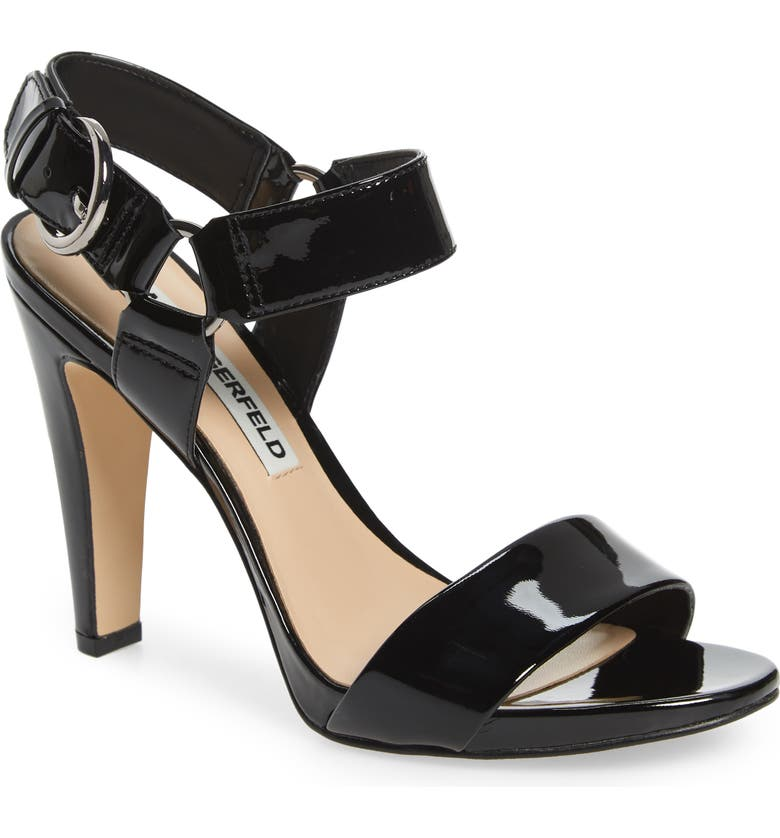 KARL LAGERFELD PARIS Cieone Sandal, Main, color, BLACK PATENT