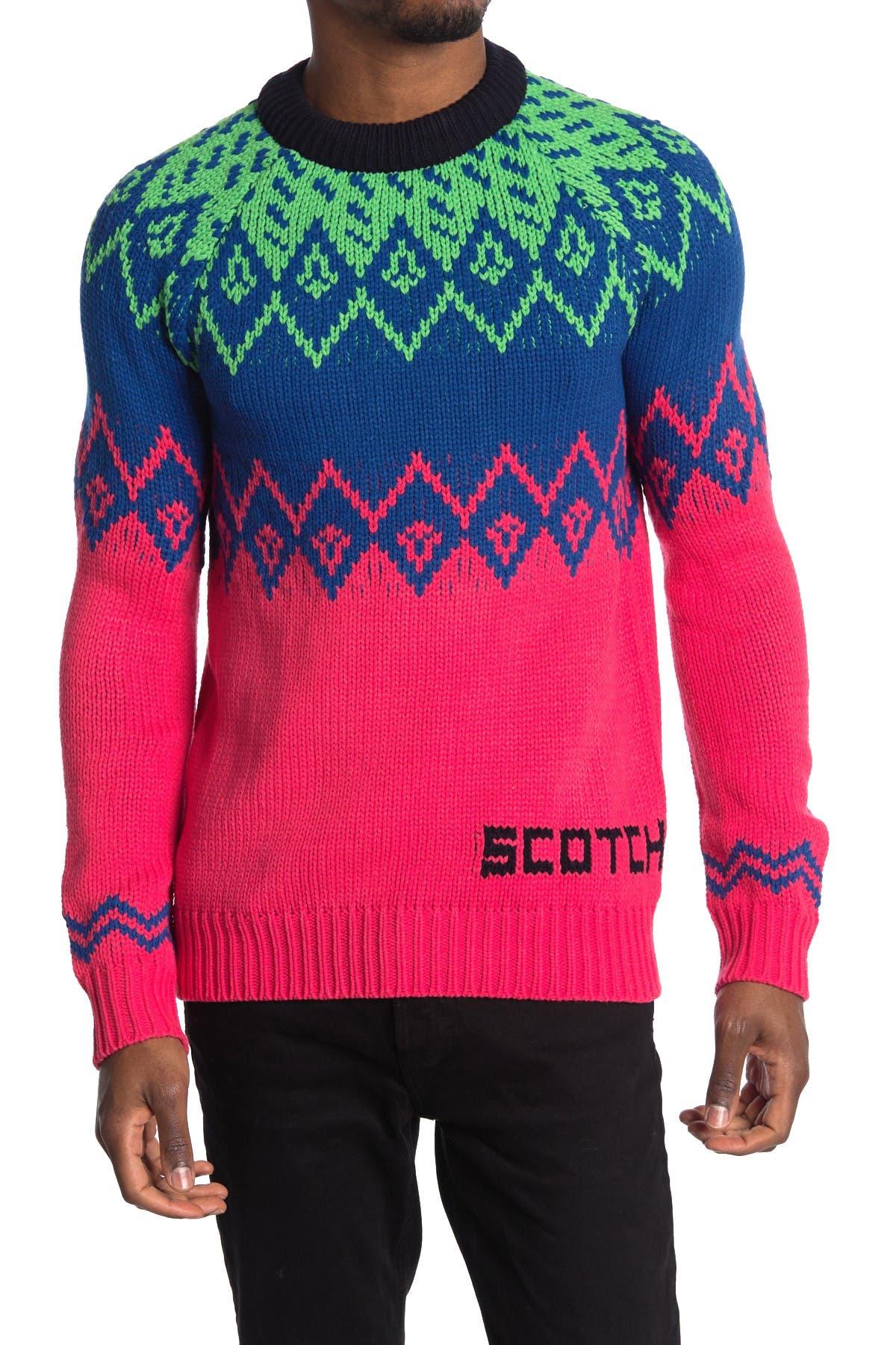 Image of Scotch & Soda Mixed Pattern Crew Neck Sweater