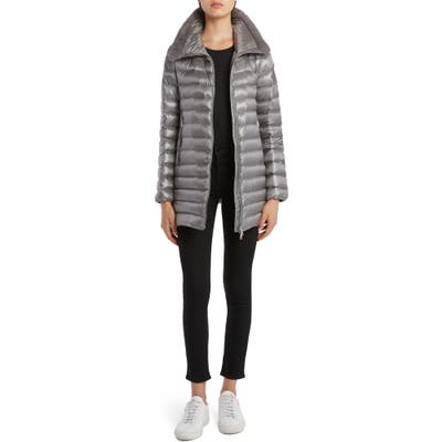 Moncler Soufre Lightweight Down Puffer Coat With Genuine Mink Fur Trim, (fits like 2-4 US) - Grey