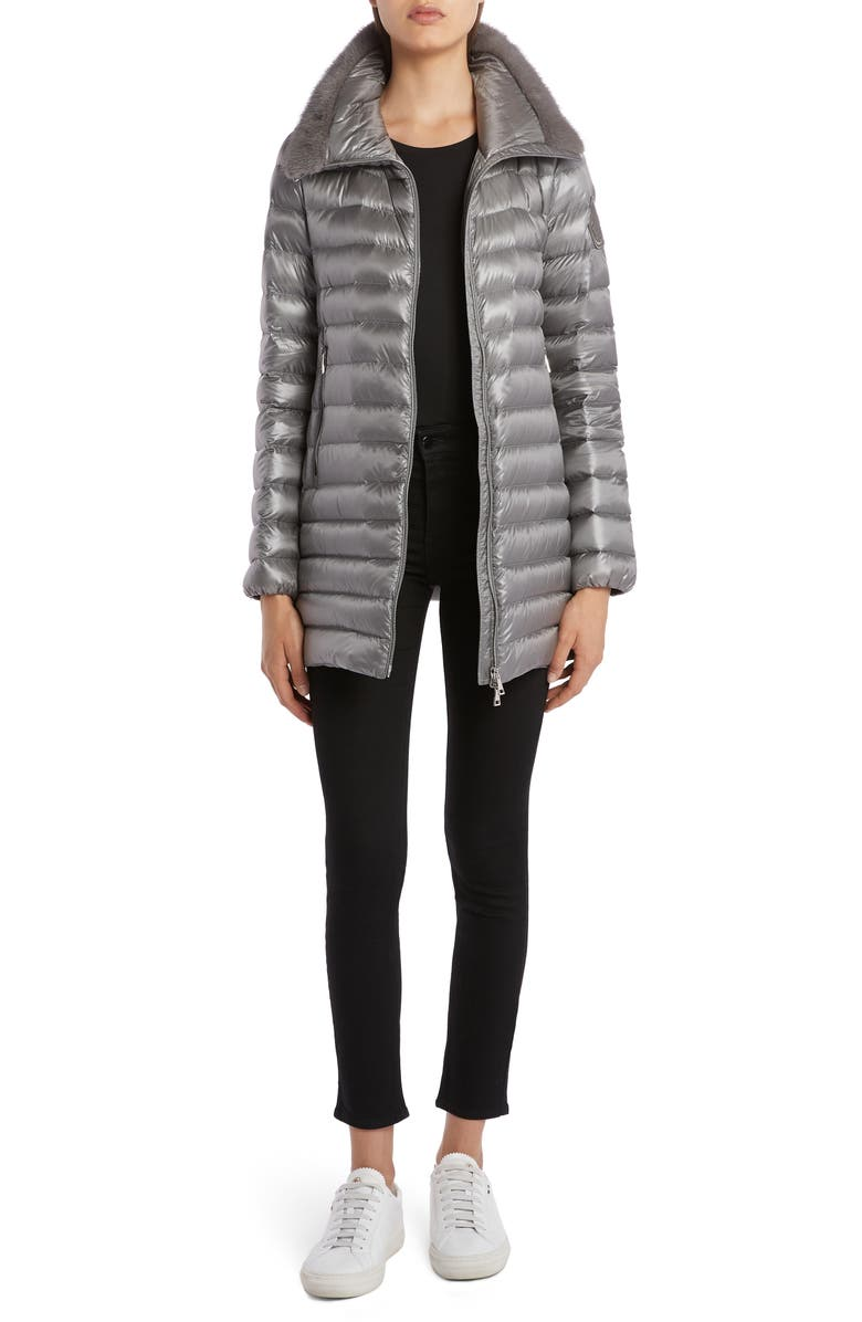 MONCLER Soufre Lightweight Down Puffer Coat with Genuine Mink Fur Trim, Main, color, GREY